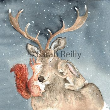 Christmas Cuddles by Sarah Reilly Suffolk Artist Love Country by Sarah Reilly