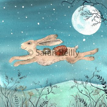 Flight of the Moon Hare by Sarah Reilly Suffolk Artist Love Country by Sarah Reilly