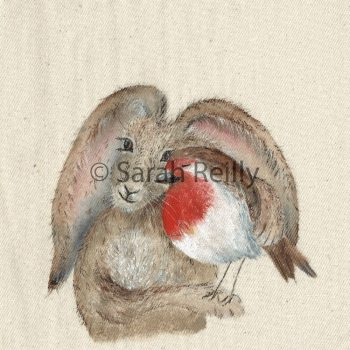 The Hare and the Robin by Sarah Reilly Suffolk Artist Love Country by Sarah Reilly