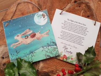 The Flight of the Moon Hare Wooden Forever Card